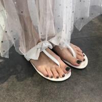抹茶绿色小清新蝴蝶结平底沙滩T型鞋可外穿夹趾凉拖鞋女