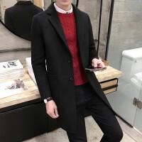 男士毛呢大衣20新款风衣男韩版中长款羊绒外套潮流修身秋冬衣服 黑色 黑色