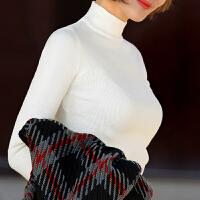 秋冬韩版女装半高领长袖针织衫套头修身显瘦纯色中领打底毛衣
