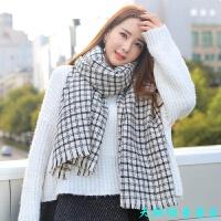 黑白格子围巾韩版女 百搭冬季新款秋冬学生日系围脖多功能披肩