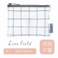 日本KOKUYO国誉格子印象线条图案笔袋小清新大容量单面透明收纳袋