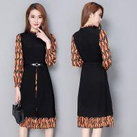 长袖针织雪纺拼接连衣裙女18春装新款印花假两件中长款裙子潮
