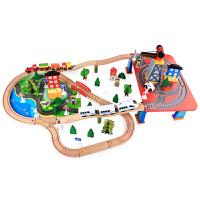 磁性电动车头3-5-7岁积木儿童玩具 木质托马斯小火车轨道套装