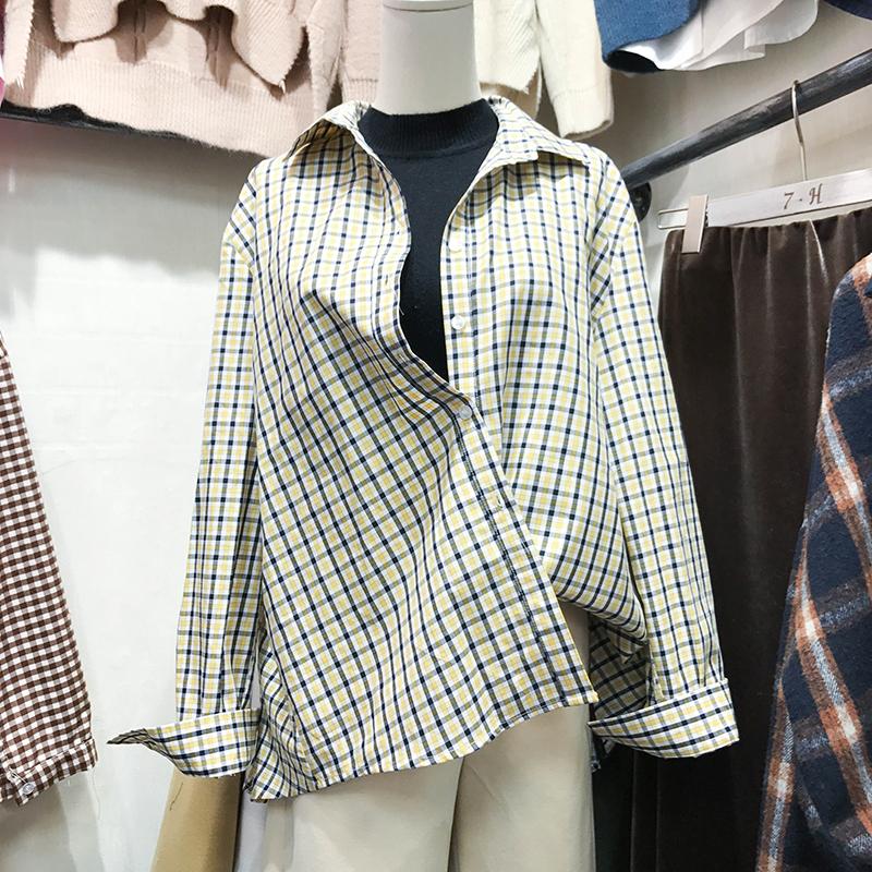 韩国ulzzang2018春装新款休闲宽松POLO领撞色格子衬衫女长袖上衣 发货周期:一般在付款后2-90天左右发货,具体发货时间请以与客服协商的时间为准