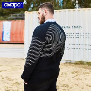 【限时抢购到手价:96元】AMAPO潮牌大码男装春季胖子加肥加大码宽松长袖套头毛衣针织衫男