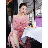 网红同款 韩版毛边针织衫宽松长袖v领套头毛衣女秋冬新款纯色打底