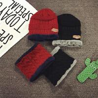 韩版儿童帽子围巾两件套装秋冬季加绒宝宝脖套男女童护耳毛线帽潮