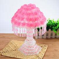 手工串珠台灯diy材料包玫瑰花摆件珠子编织结婚礼物蘑菇灯