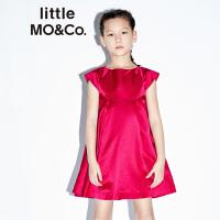 【折后价:355.6】littlemoco女童连衣裙洋气折褶圆领短袖连衣裙派对礼服公主裙
