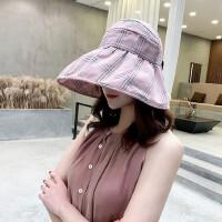 帽子女遮阳帽出游百搭防晒帽韩版大沿沙滩太阳帽空顶可折叠凉帽