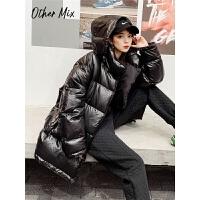 七格格羽绒服韩版女宽松2019新款冬季长袖外套字母时尚白鸭绒上衣