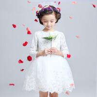 女童公主裙婚纱婚礼圣诞节元旦新年 花童礼服女秋冬儿童长袖礼服裙 白色