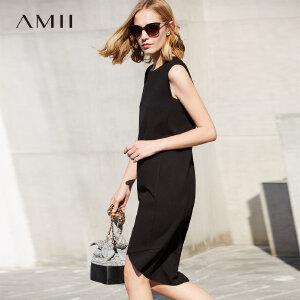 【大牌清仓 5折起】Amii时尚气质无袖黑色包臀背心连衣裙子女中长修身裙