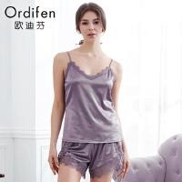 欧迪芬休闲家居服女夏季薄款女式睡衣蕾丝性感吊带短裤套装XH8202