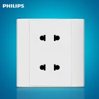飞利浦墙壁面板插座86型 Q4 810U2二二极四孔10A插座白色