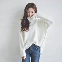秋冬季学生中长款保暖针织衫女套头宽松慵懒打底线衣加厚高领毛衣 气质白 均码
