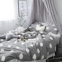 家纺全棉磨毛四件套加厚秋冬云朵简约北欧蕾丝花边拉绒被套床单4件套