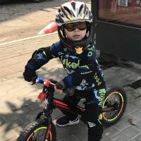 定制春夏平衡车儿童骑行服长袖套装自行山地单车服男女赛车轮滑服 墨绿色 8