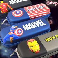 迪士尼美国队长笔袋男孩个性笔袋学生皮革文具盒韩国EVA男生大容量铅笔盒