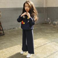韩版女童卫衣套装春秋中大童运动衣阔腿裤潮儿童两件套