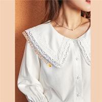 七格格雪纺衫女装2020新款春季上衣仙气长袖娃娃领白色蕾丝衫衬衫