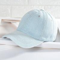 韩版鸭舌帽男款女士牛仔帽春夏季休闲情侣遮阳帽透气防晒棒球帽子 可调节