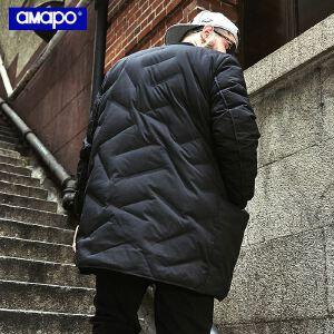 【限时抢购到手价:295元】AMAPO潮牌大码男装冬季胖子加肥加大码嘻哈中长款加绒加厚羽绒服