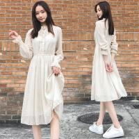 连衣裙年春季长袖中长款纯色修身显瘦气质唯美可爱