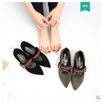 古奇天伦新款潮韩版百搭粗跟女鞋中跟小皮鞋尖头单鞋玛丽珍女鞋子春季HY05067
