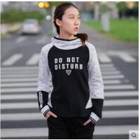 韩国个性字母拼色连帽衫卫衣女子跑步运动上衣瑜伽服宽松速干健身外套