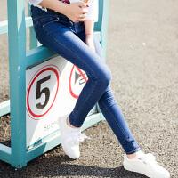 【5折价69元,叠加200-30】唐狮秋装新款牛仔裤女弹力高腰紧身小脚牛仔长裤韩版学生Z