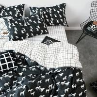 棉四件套棉床上用品1.5m1.8m2.0m米床笠双人色床品床单被套