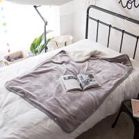 家纺日式懒人毯带纽扣法兰绒毛毯学生单人小毯子办公室沙发披肩膝盖毯 鲨鱼灰(JY懒人毯) 实物偏深色 100*150cm