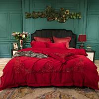 欧式80支婚庆四件套大红刺绣结婚喜庆床上用品 法兰琳卡玛