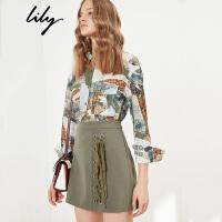 Lily2018春新款女装复古涤纶印花衬衫宽松落肩袖衬衫118129C4907