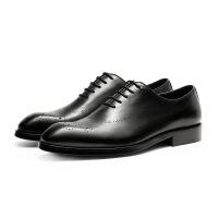 英伦风男士尖头商务正装皮鞋真皮擦色皮布洛克雕花潮流德比鞋男鞋