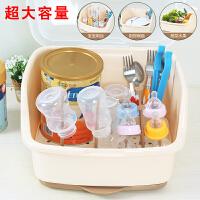 装奶粉的小罐子盒子 便携式宝宝奶瓶储存盒干燥架翻盖防尘收纳箱