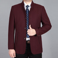 秋冬装新款中年男士毛呢夹克立领厚款中老年休闲爸爸装茄克衫外套 酒红色 0