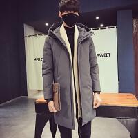 男士羽绒服中长款青少年学生大码上衣新韩版加厚宽松冬季外套 JPD8-118灰色 M
