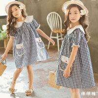 女童格子连衣裙2018新款夏季韩版中大童纯棉短袖娃娃裙洋气公主裙