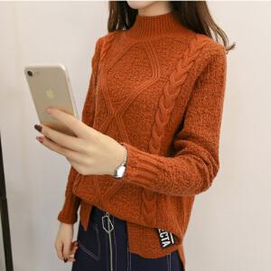 2018短款宽松毛衣女新款套头开叉韩版半高领打底衫加厚保暖针织衫