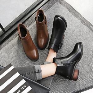 毅雅2017秋冬新款短靴女中跟韩版女马丁靴粗跟防滑皮带扣侧拉链裸靴