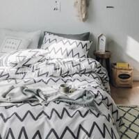 简约床上四件套棉棉被套1.8m床双人格子床单被罩三件套