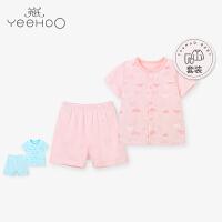 【直降】英氏男女宝宝居家套装 儿童夏季纯棉对襟短裤套装 184A0375