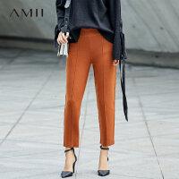 Amii[极简主义]针织休闲长裤女冬装2017新款宽松中线松紧腰裤子