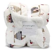 毛毯小被子加厚冬季单人双层保暖办公室空调午睡法兰羊羔珊瑚绒毯J 北欧猫头鹰 尺码标准 150*200cm 3.6斤(送