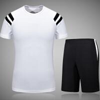 男士运动健身服套装短袖速干T恤健身房跑步夏天五分短裤休闲大码 白色 短裤套装