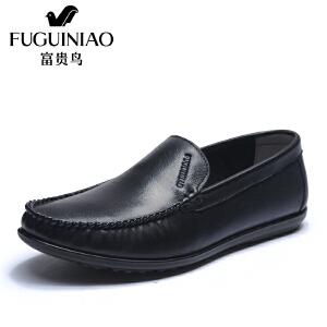 富贵鸟2018春季男鞋新品透气休闲鞋男鞋男士套脚软面休闲皮鞋