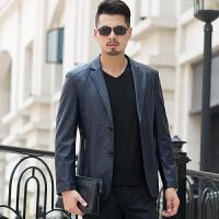 秋季真皮皮衣男绵羊皮薄款外套中年男士韩版休闲短款西装领皮夹克