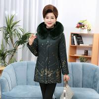 中老年女装秋冬棉衣中年妈妈装连帽毛领加绒加厚40-50岁外套